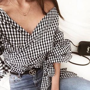 🆕Cassidy Gingham Puff Sleeve Wrap Top